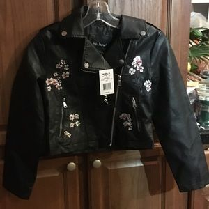 Girls Floral Pleather Jacket by Me Jane NEW 14